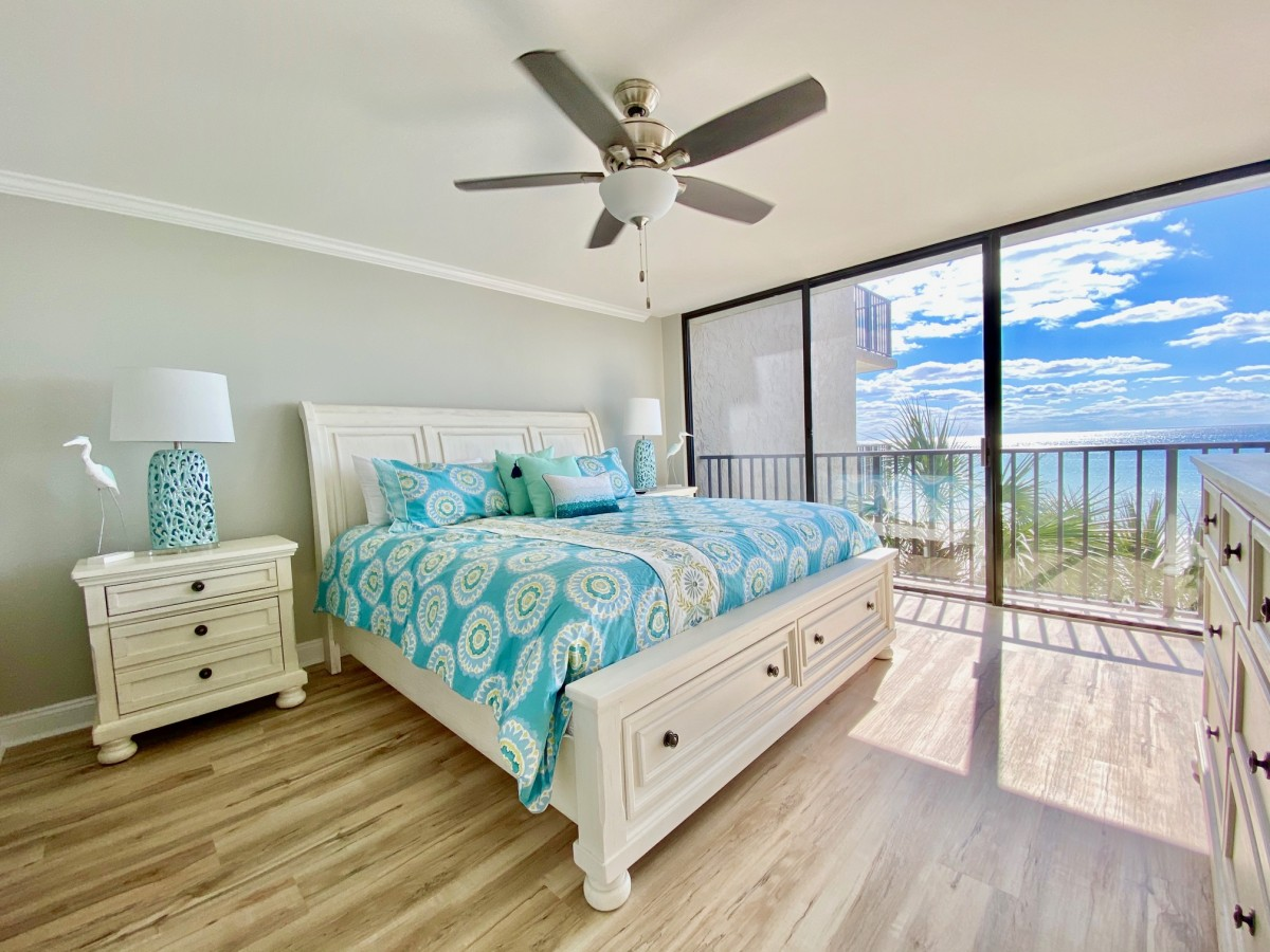 luxurious condo bedroom in panama city beach