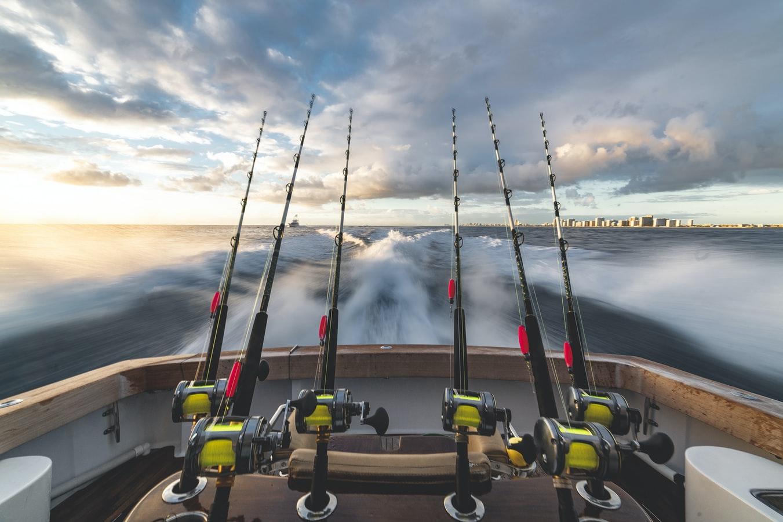 fishing poles on boat